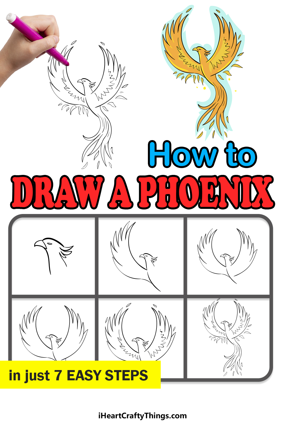 how to draw a phoenix in 7 easy steps