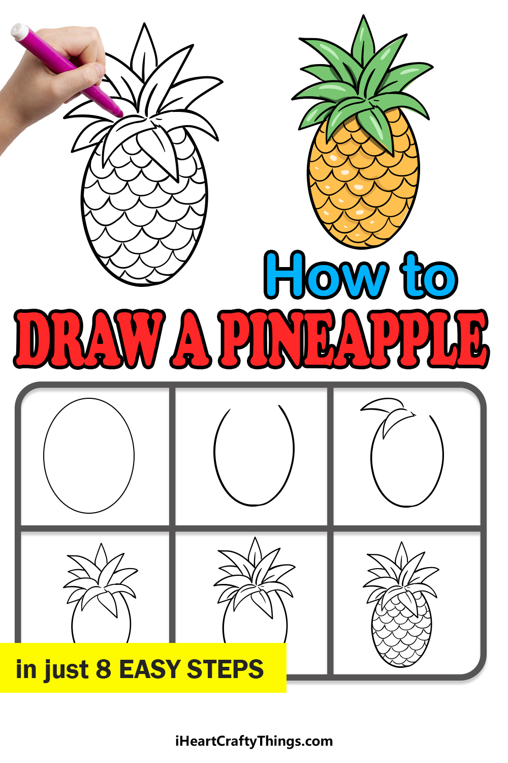 how to draw a pineapple in 8 easy steps