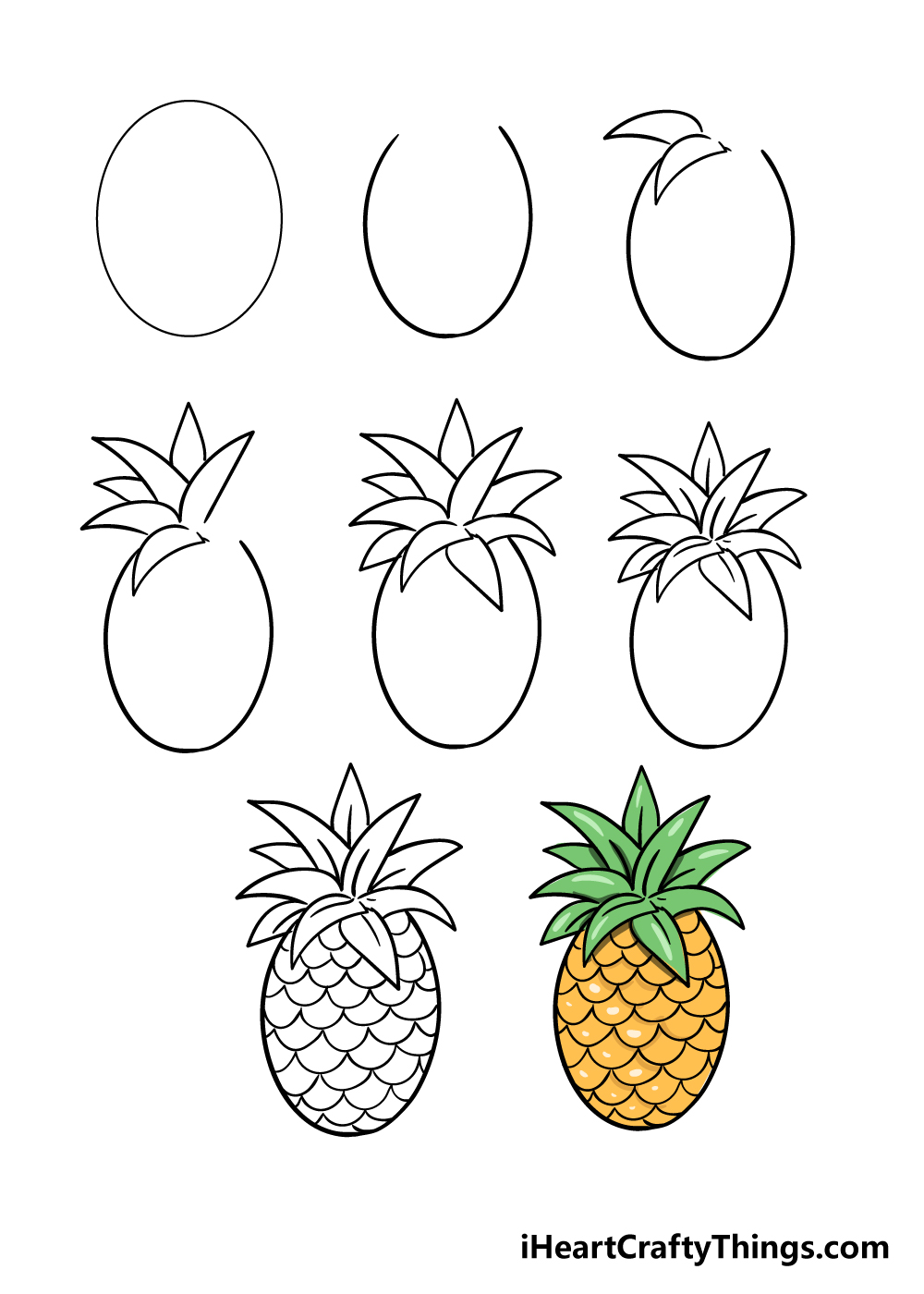 how to draw pineapple in 8 steps