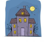 how to draw haunted house image