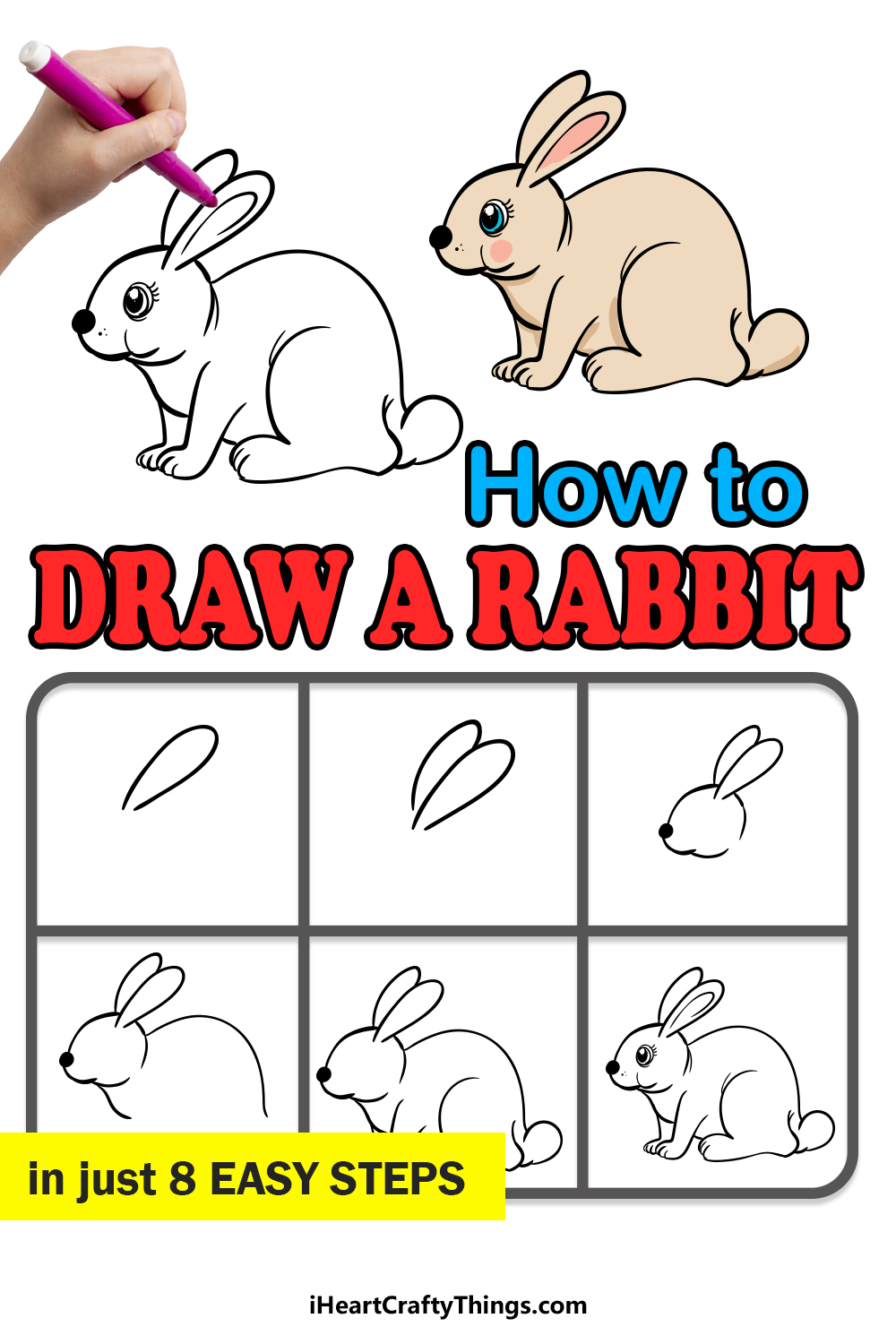 how to draw a rabbit in 8 easy steps