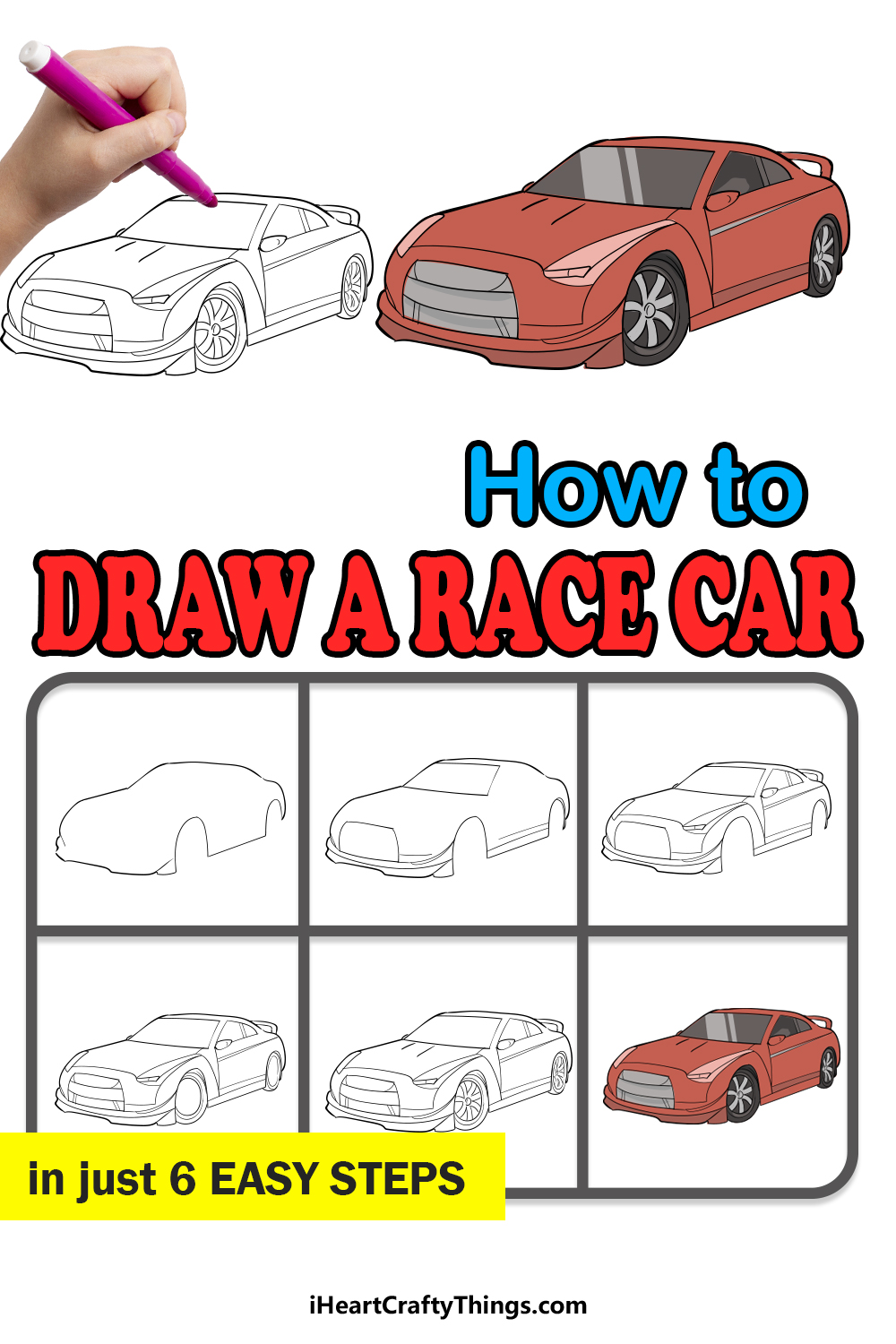 how to draw a race car in 6 easy steps