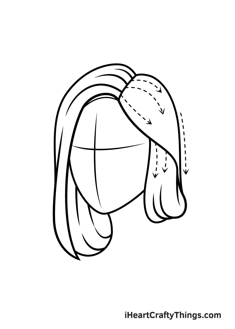 realistic hair drawing step 4