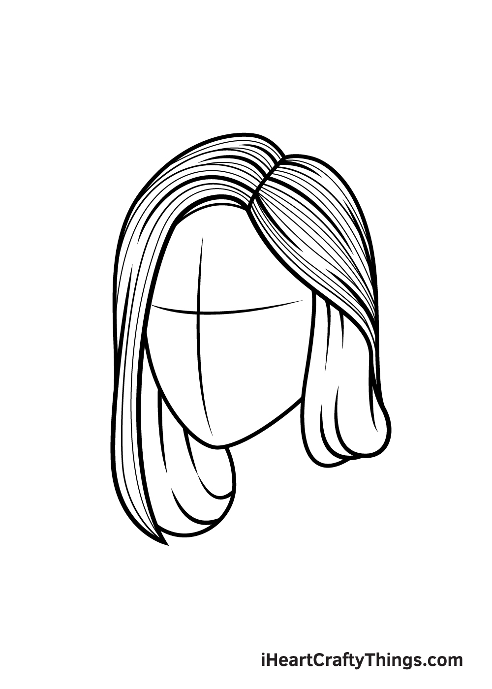realistic hair drawing step 7