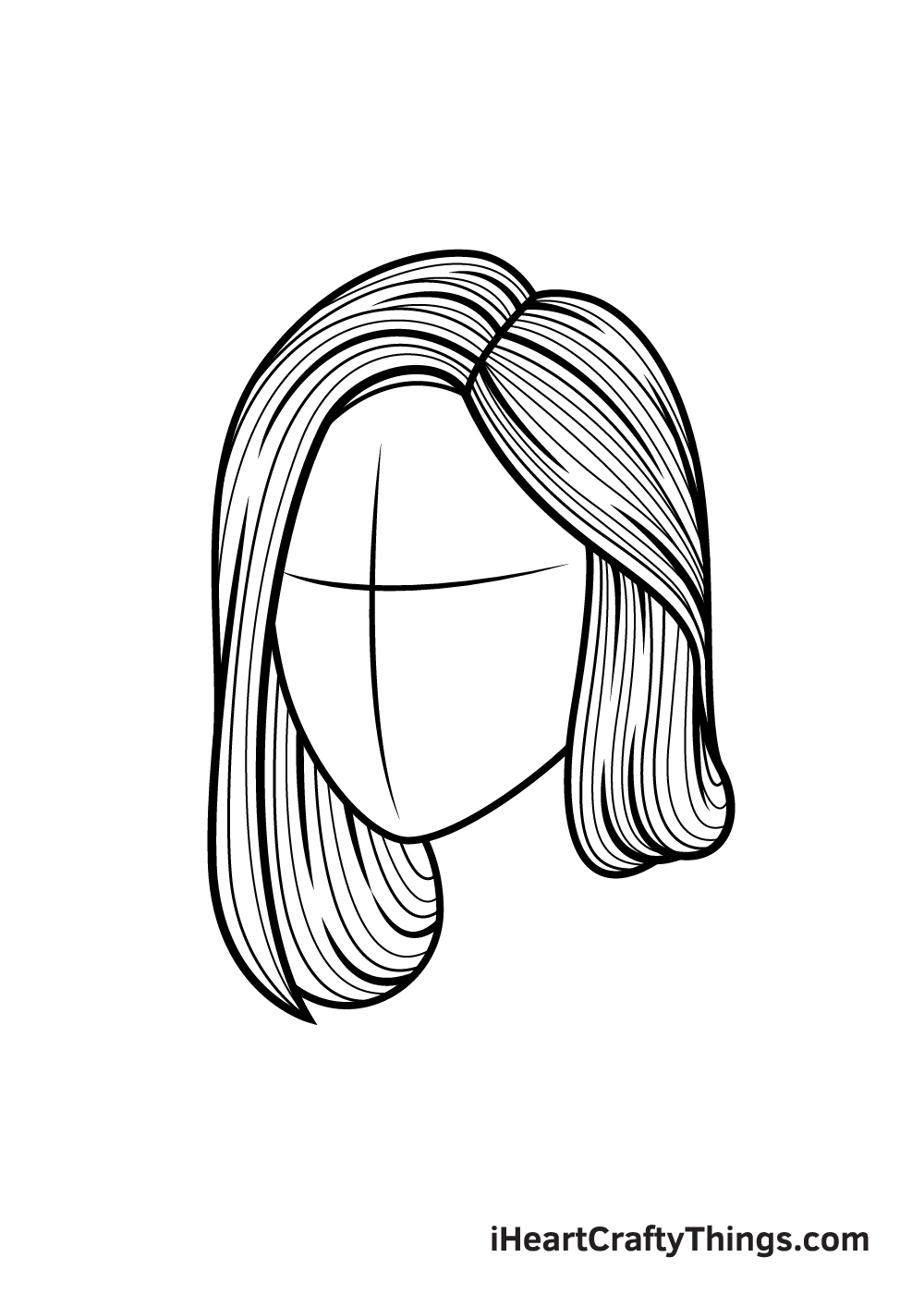 realistic hair drawing step 8