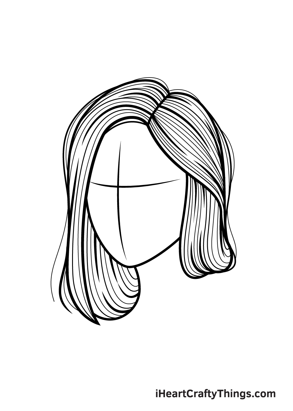 realistic hair drawing step 9