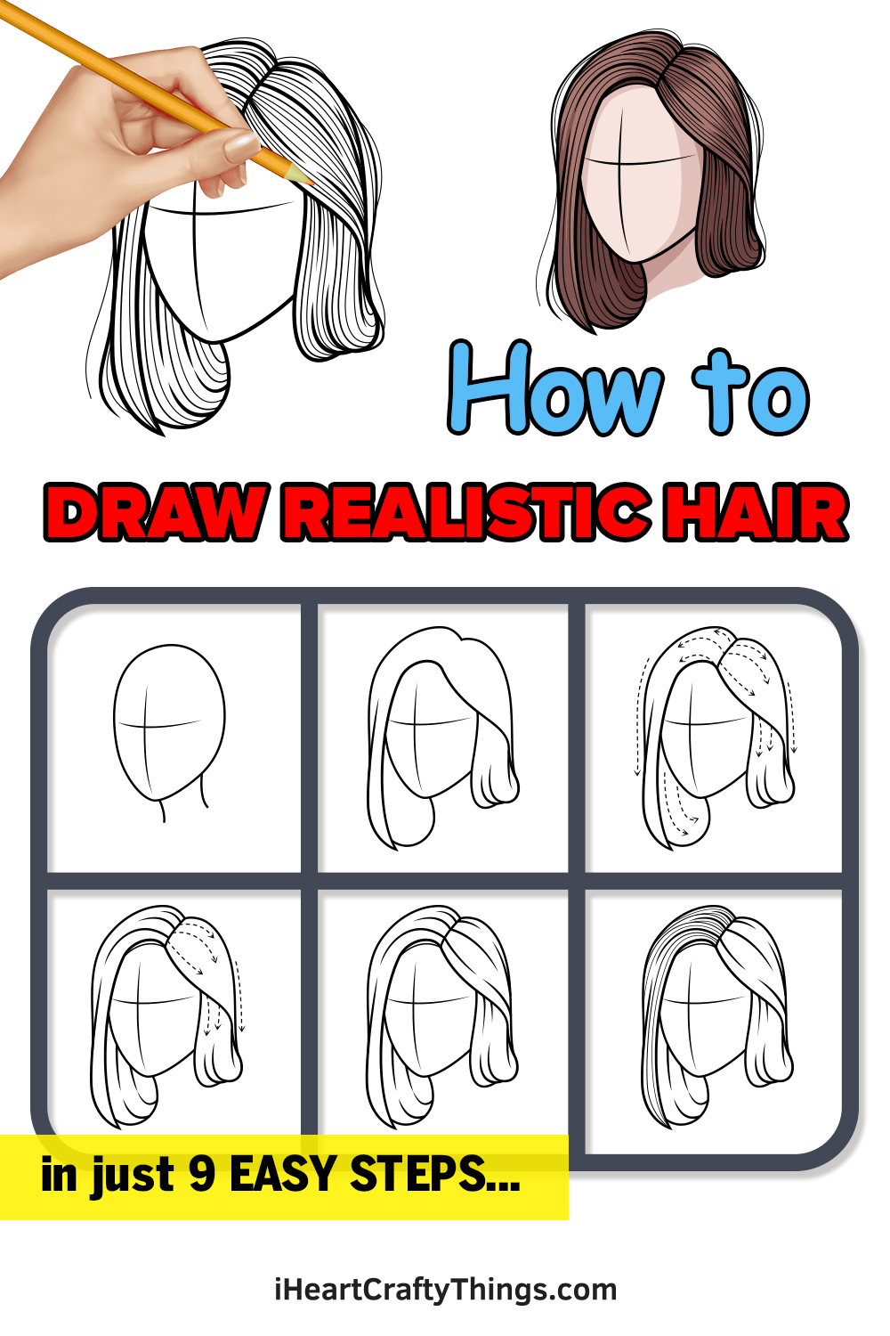 how to draw realistic hair in 9 easy steps