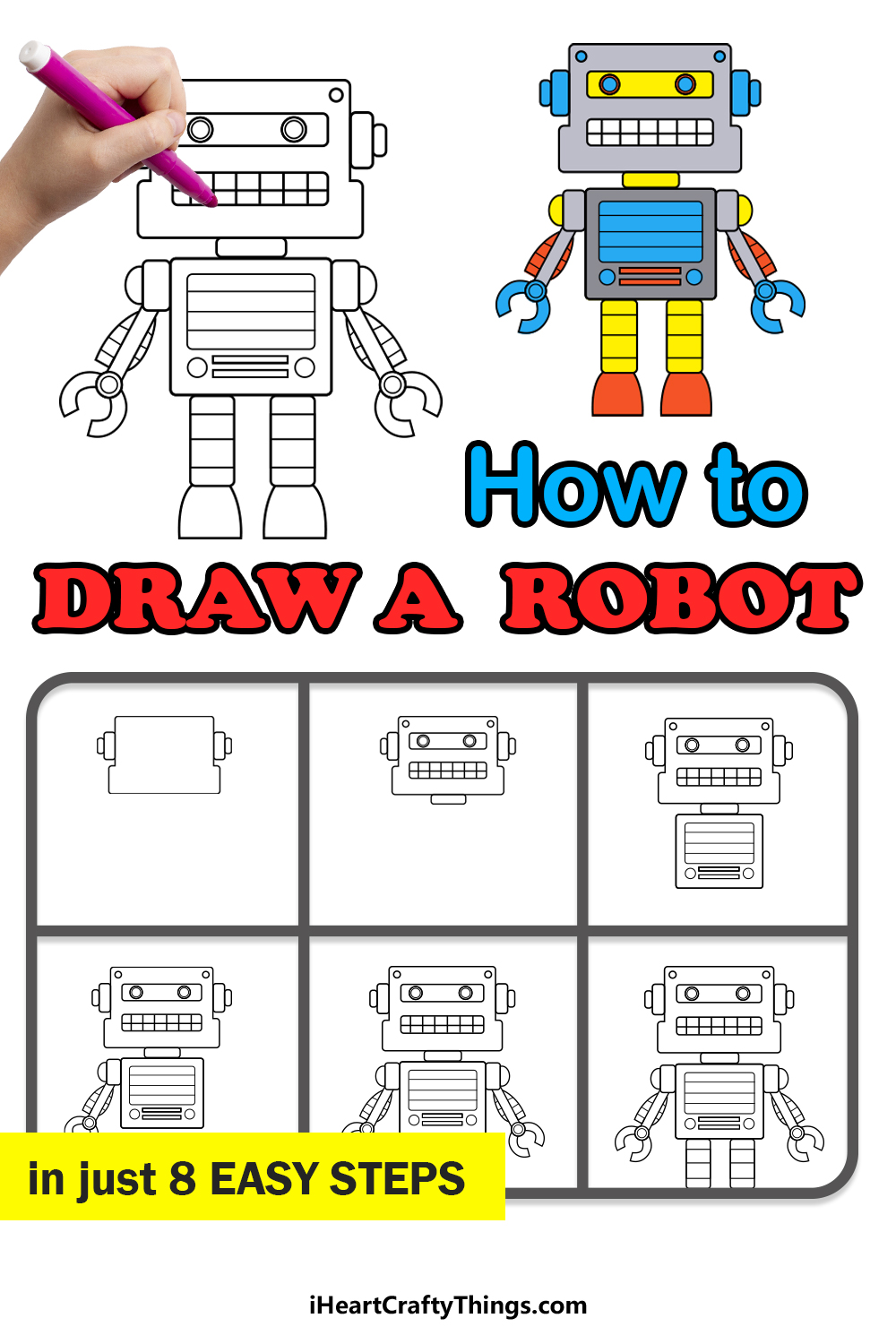 how to draw a robot in 8 easy steps