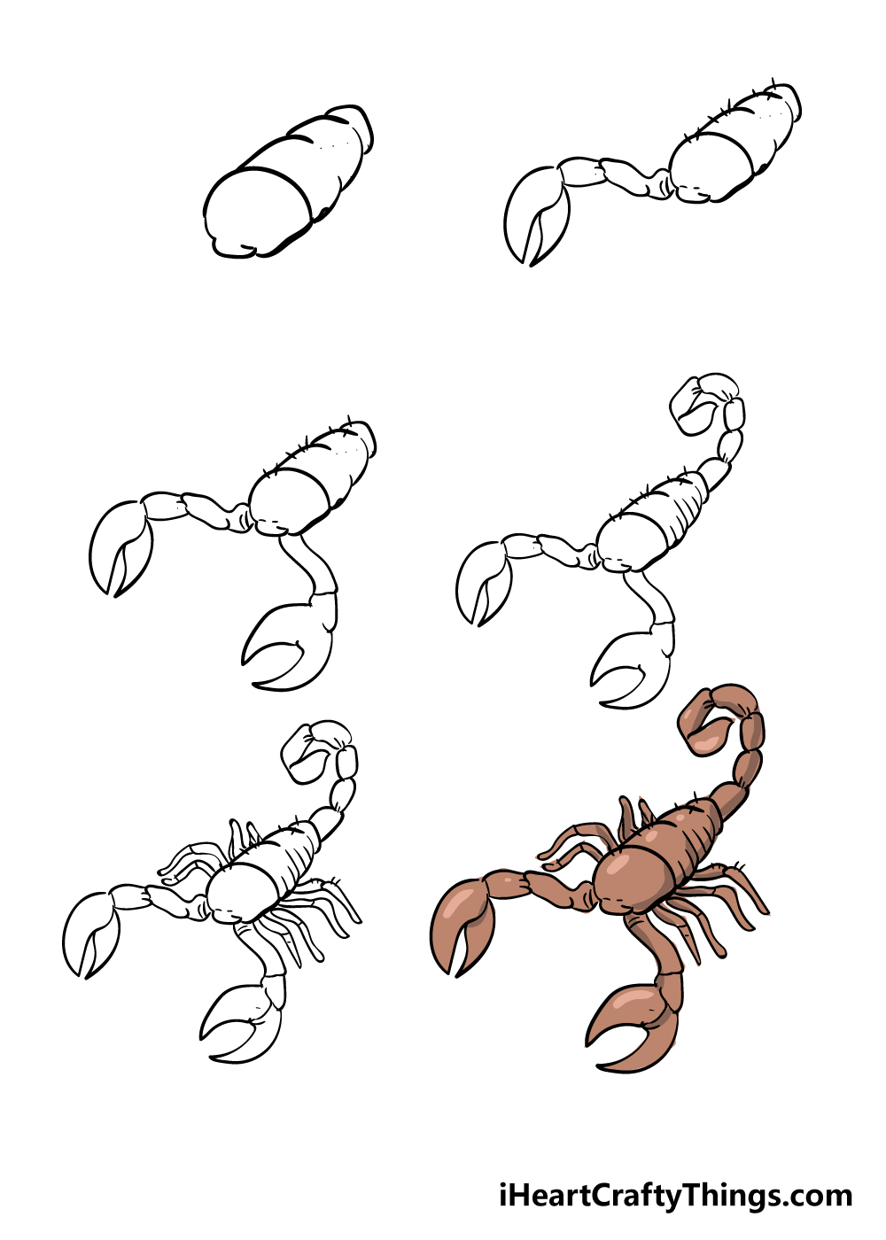 how to draw scorpion in 6 steps