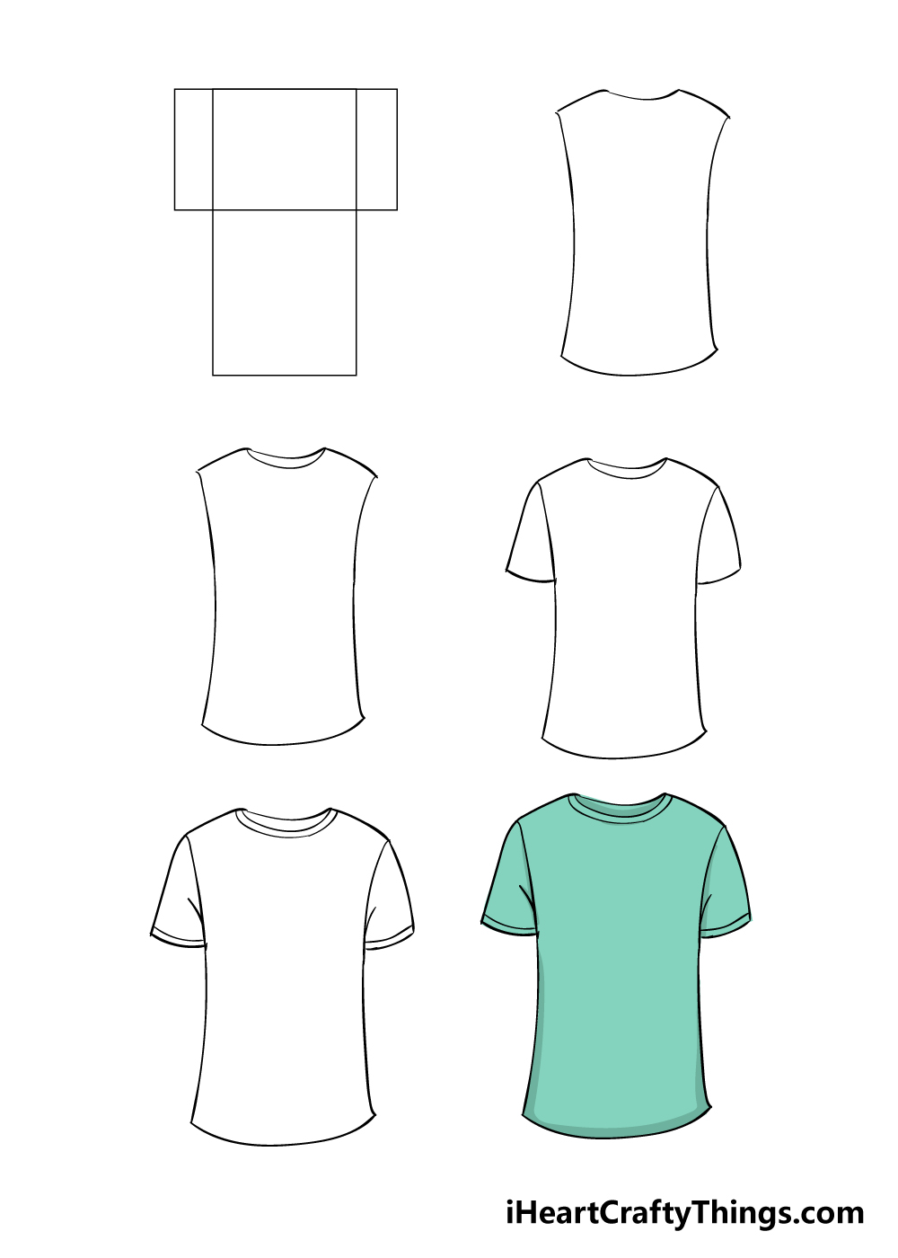 how to draw shirt in 6 steps