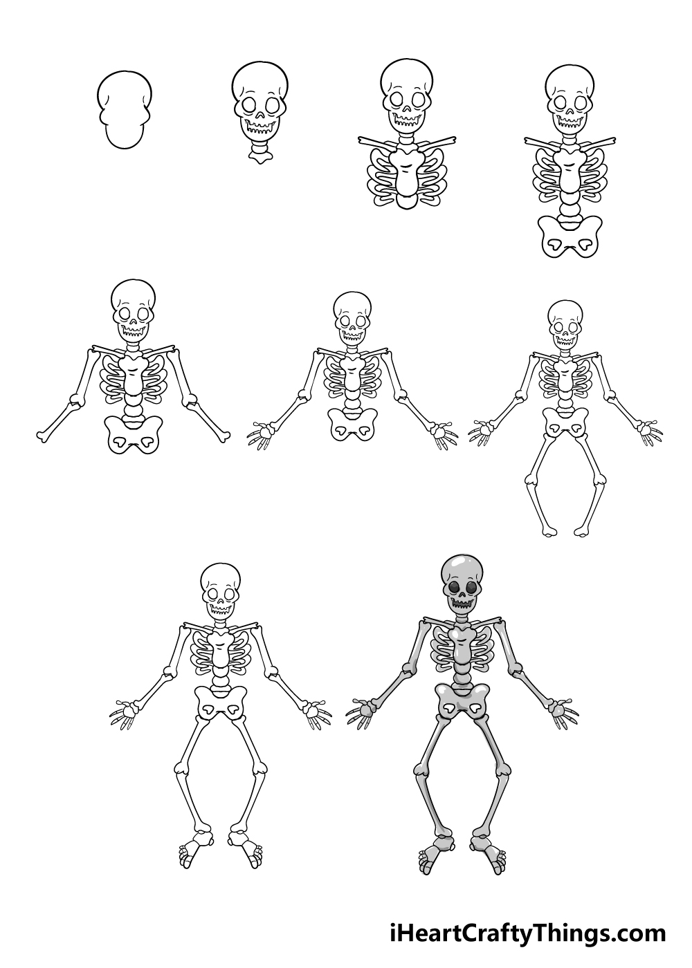 how to draw skeleton in 9 steps