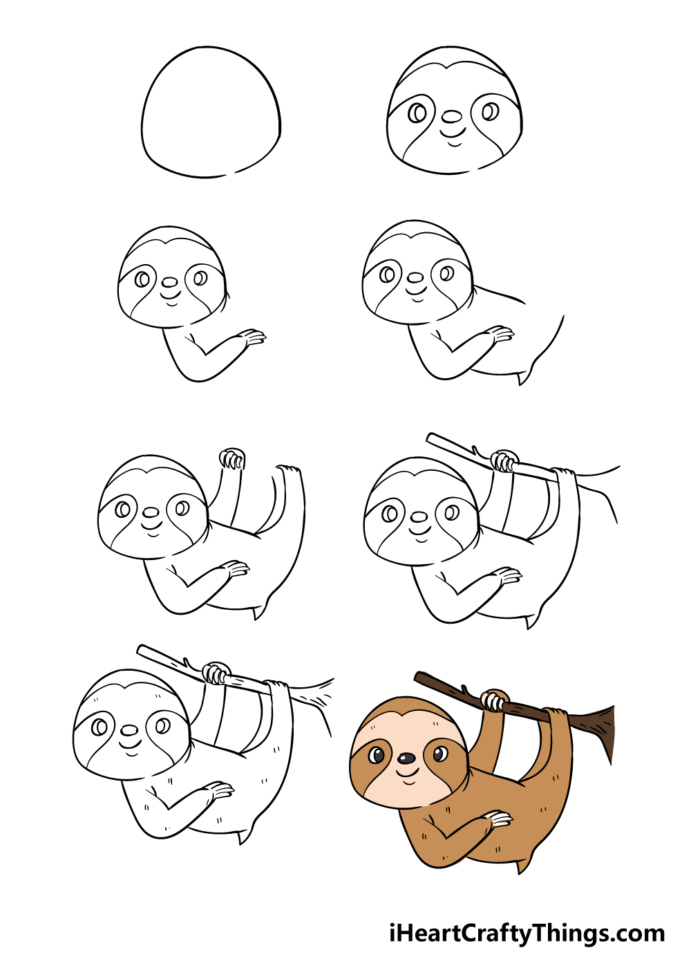 how to draw sloth in 8 steps