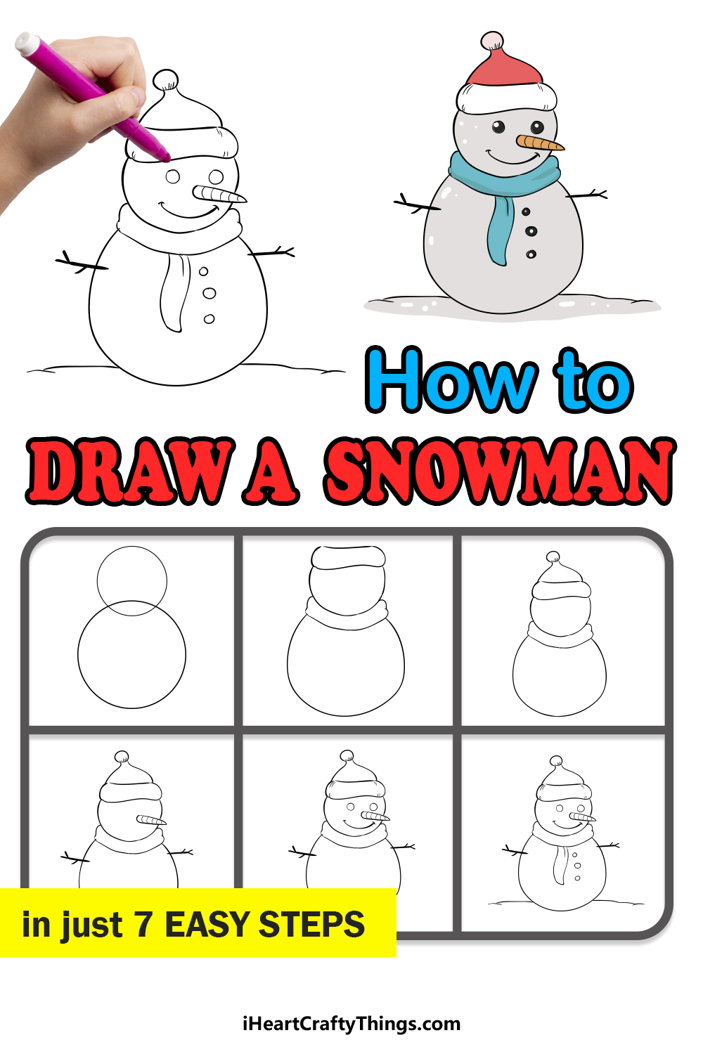 how to draw a snowman in 7 easy steps