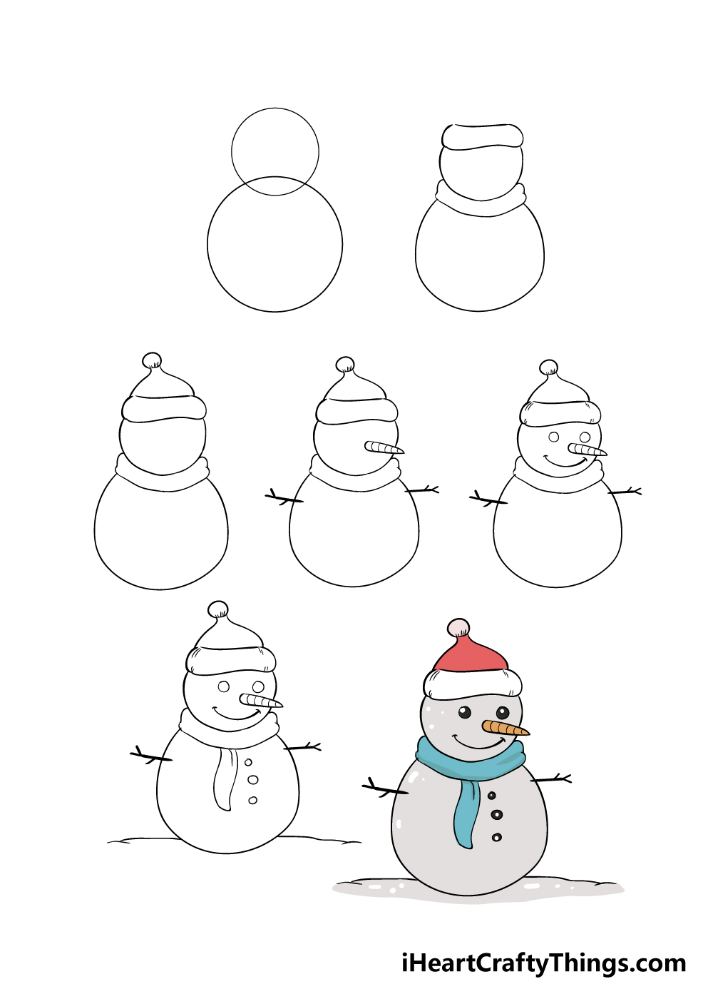 how to draw snowman in 7 steps