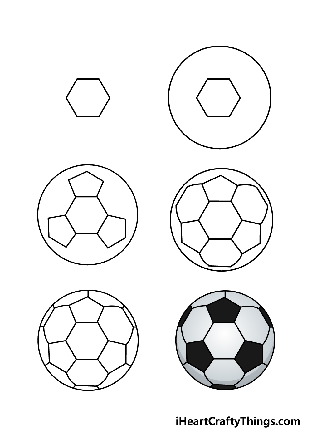 how to draw soccer ball in 6 steps