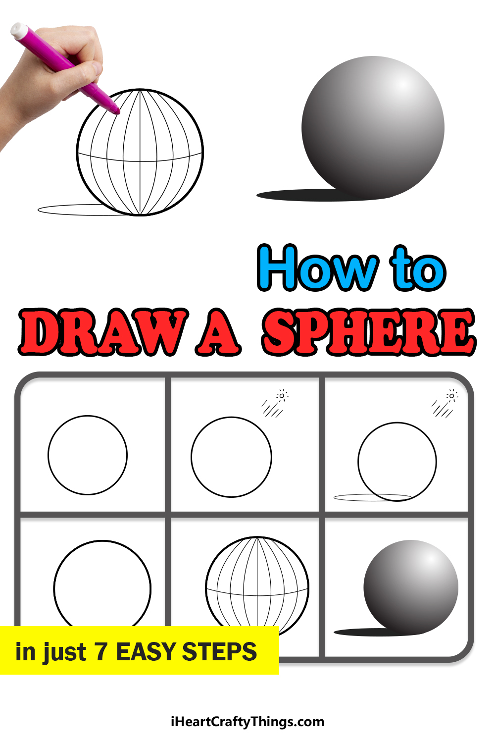 how to draw a sphere in 7 easy steps