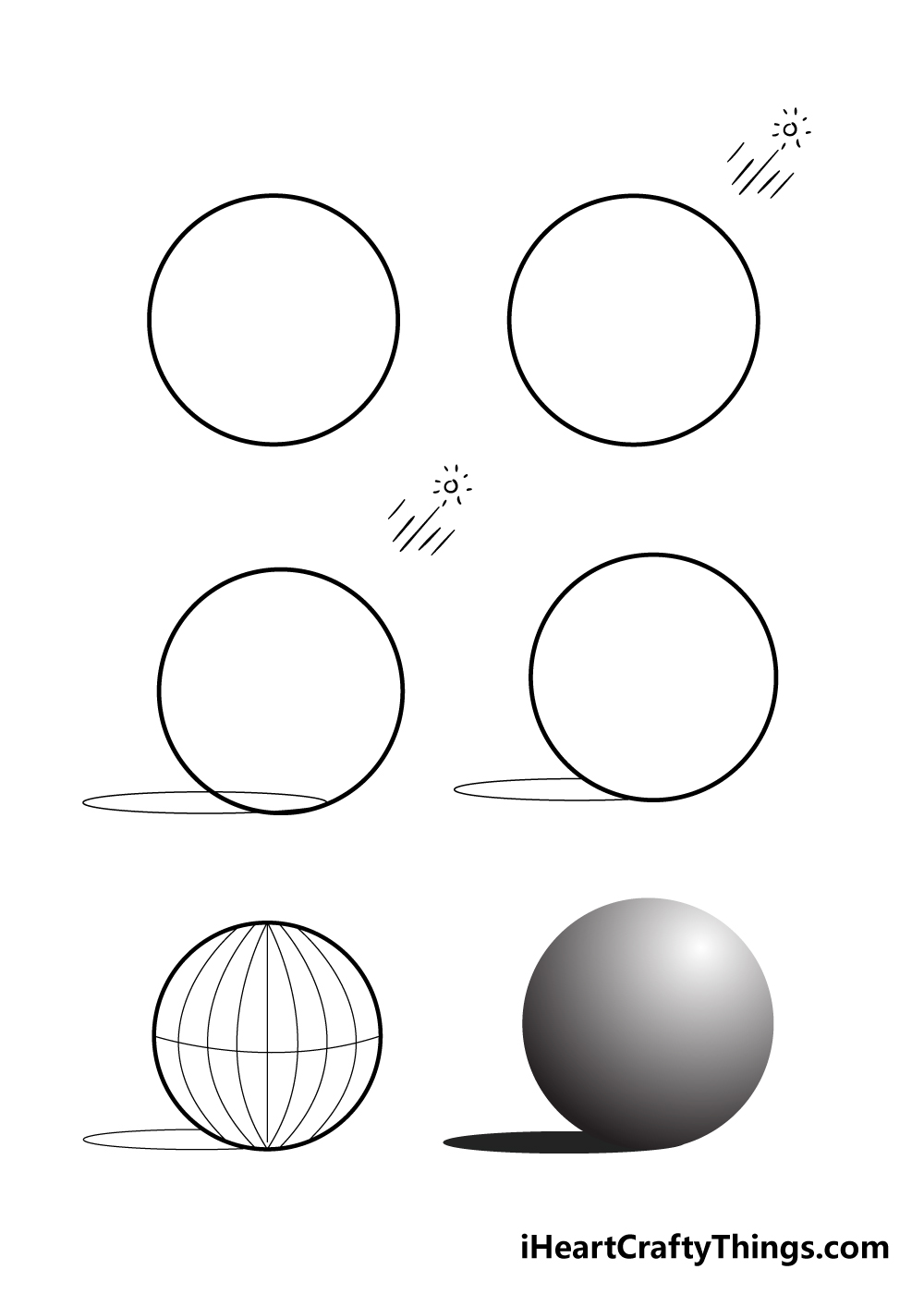 how to draw a sphere in 6 steps