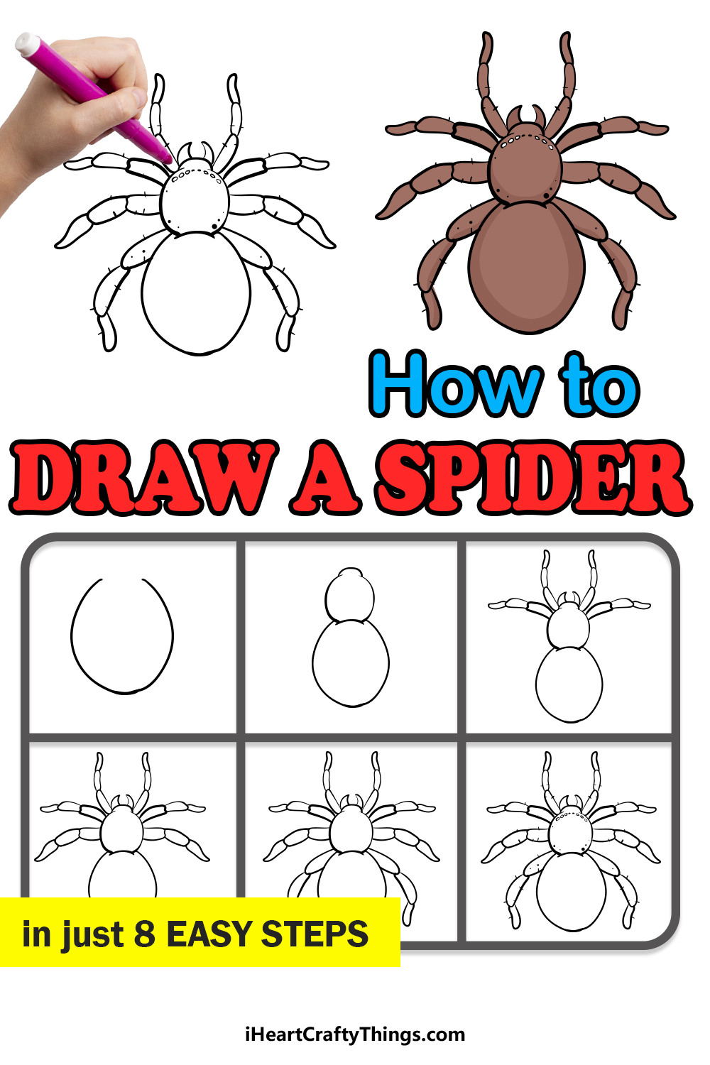 how to draw a spider in 8 easy steps
