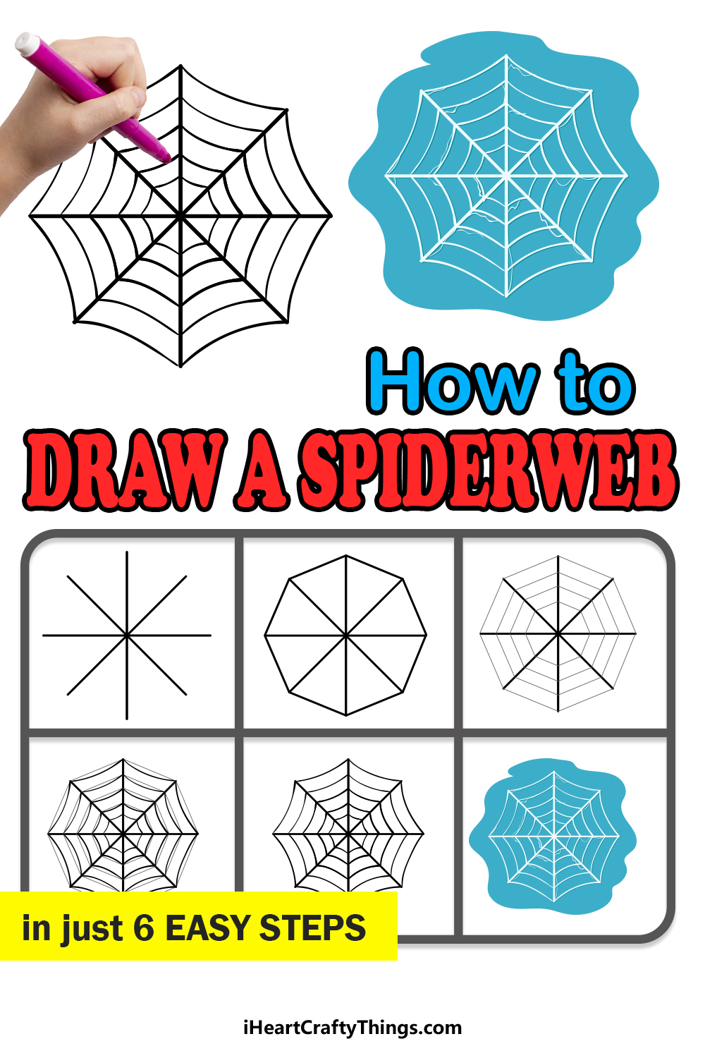 how to draw a spiderweb in 6 easy steps