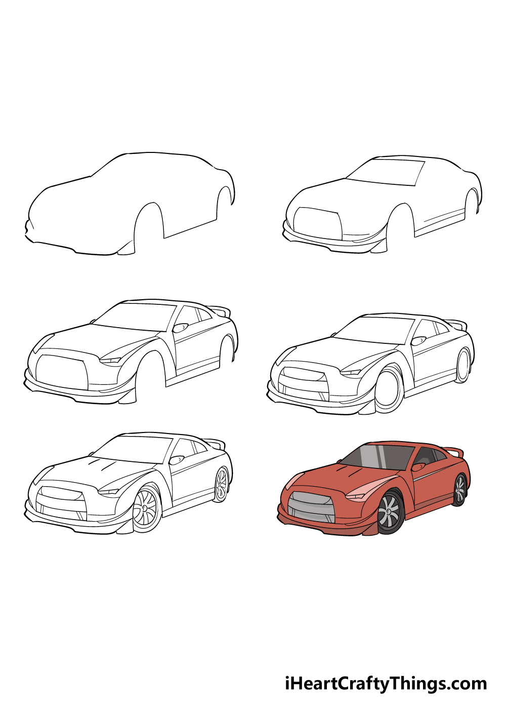 how to draw racecar in 6 steps