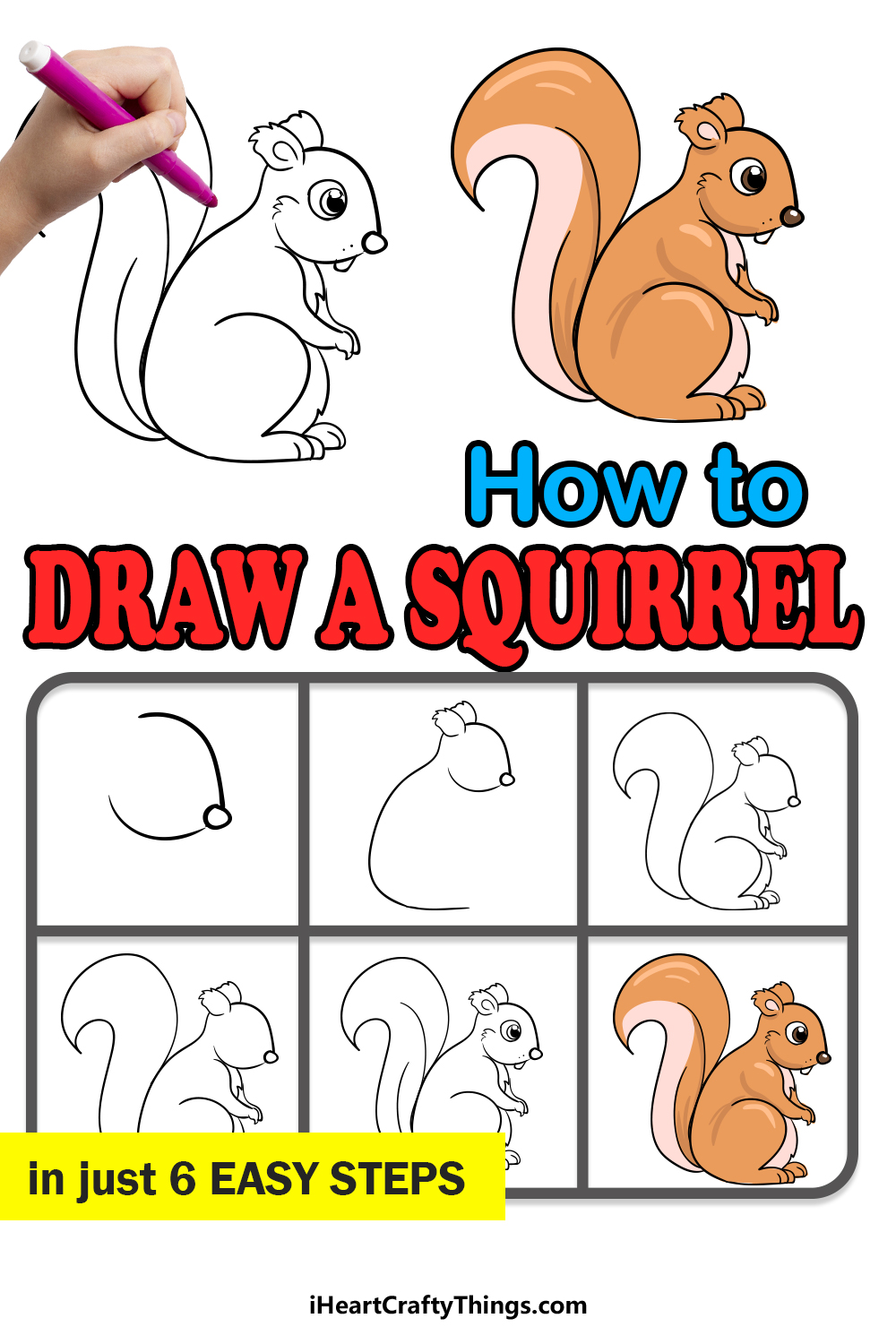 how to draw a squirrel in 6 easy steps