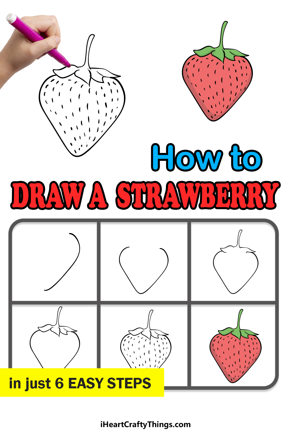 how to draw a strawberry in 6 easy steps