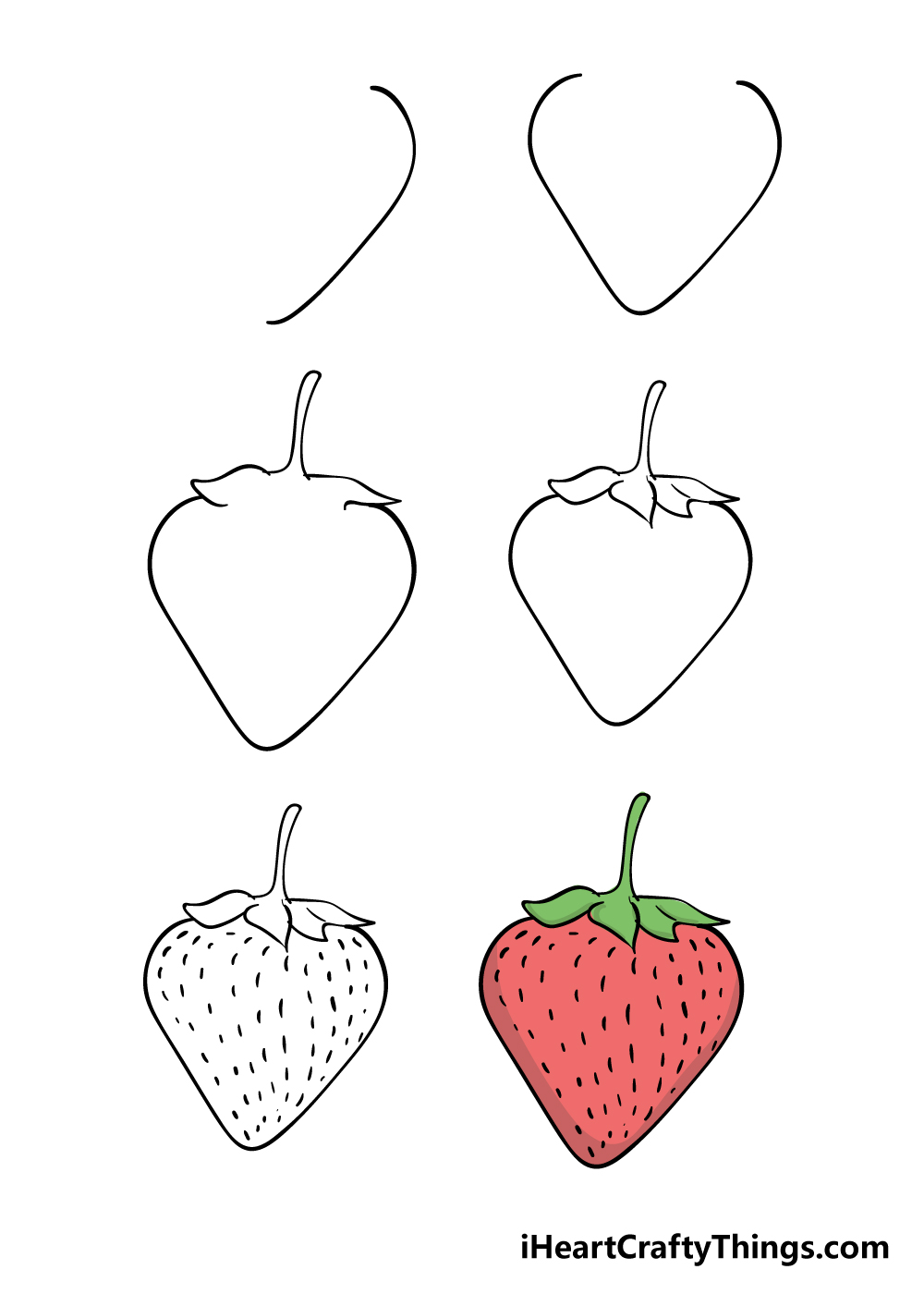 how to draw strawberry in 6 steps