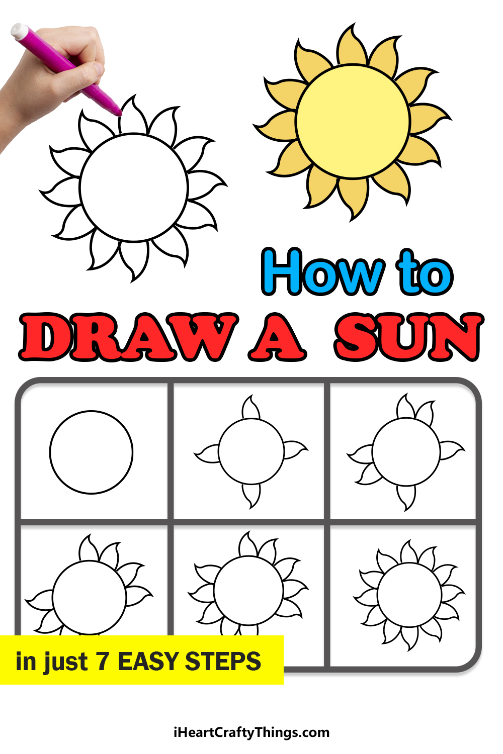 how to draw a sun in 7 steps