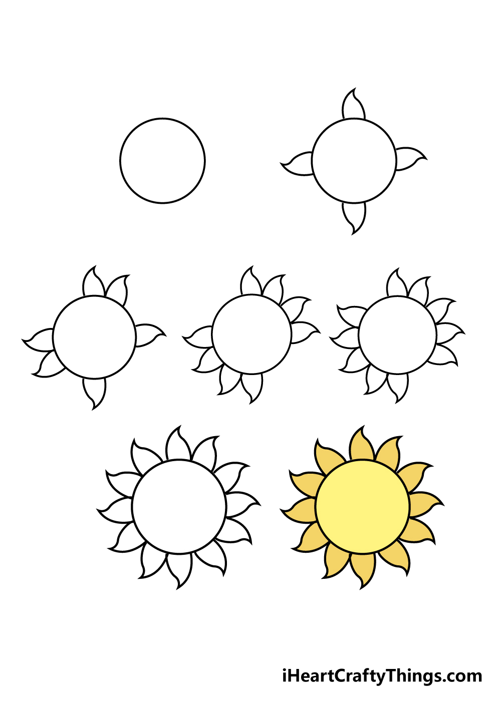 how to draw sun in 7 steps