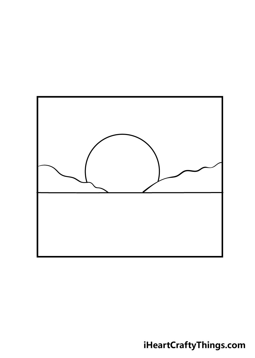 sunset drawing step 3