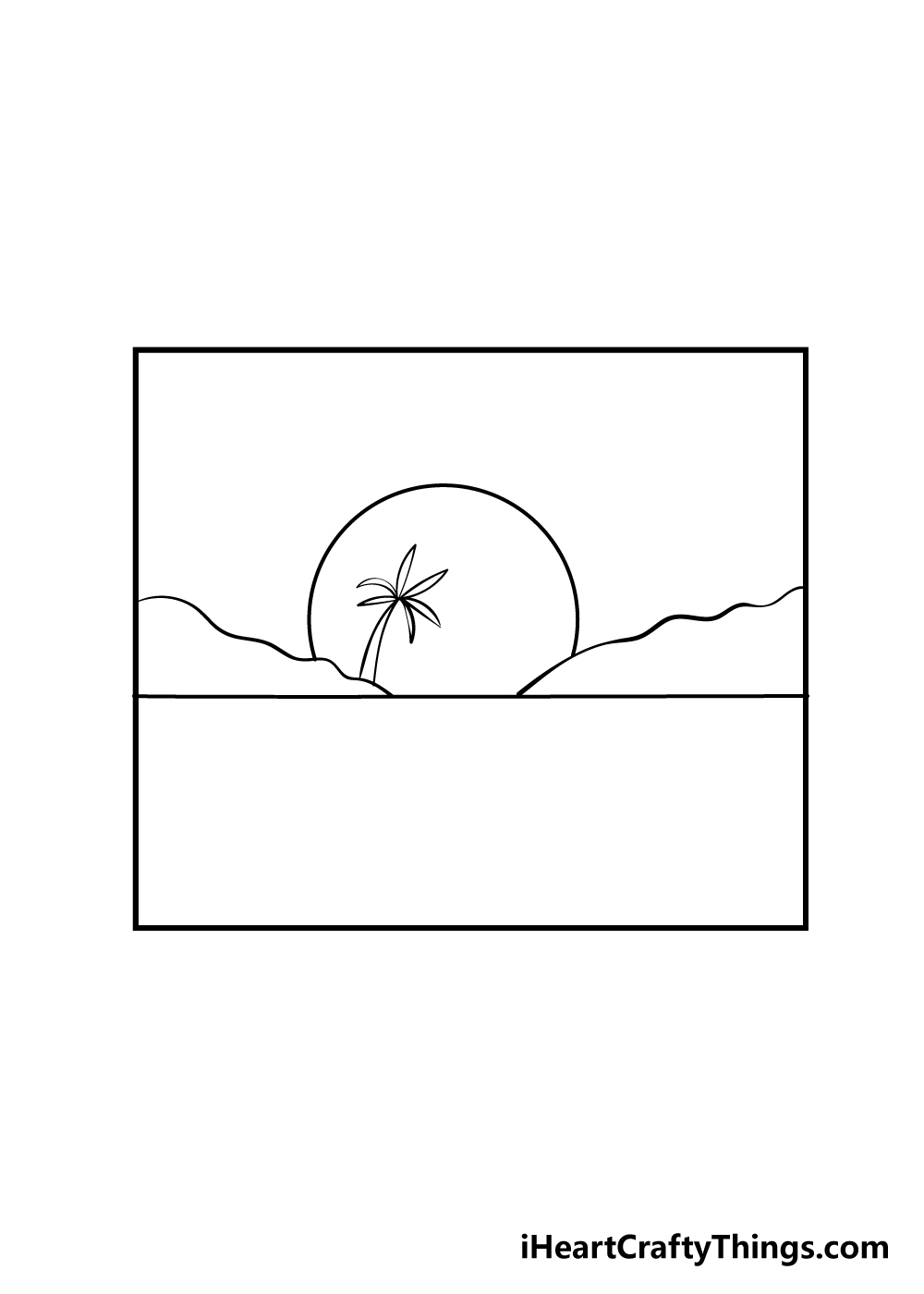 sunset drawing step 4