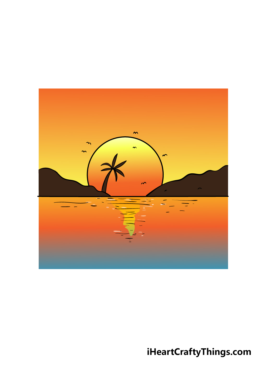 sunset drawing step 6