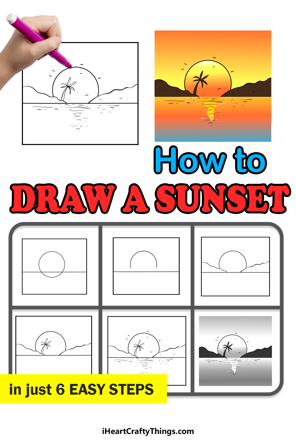 how to draw a sunset in 6 easy steps