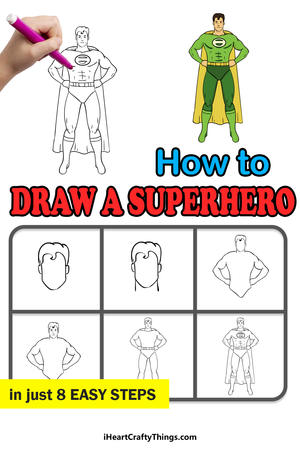 how to draw a superhero in 8 easy steps