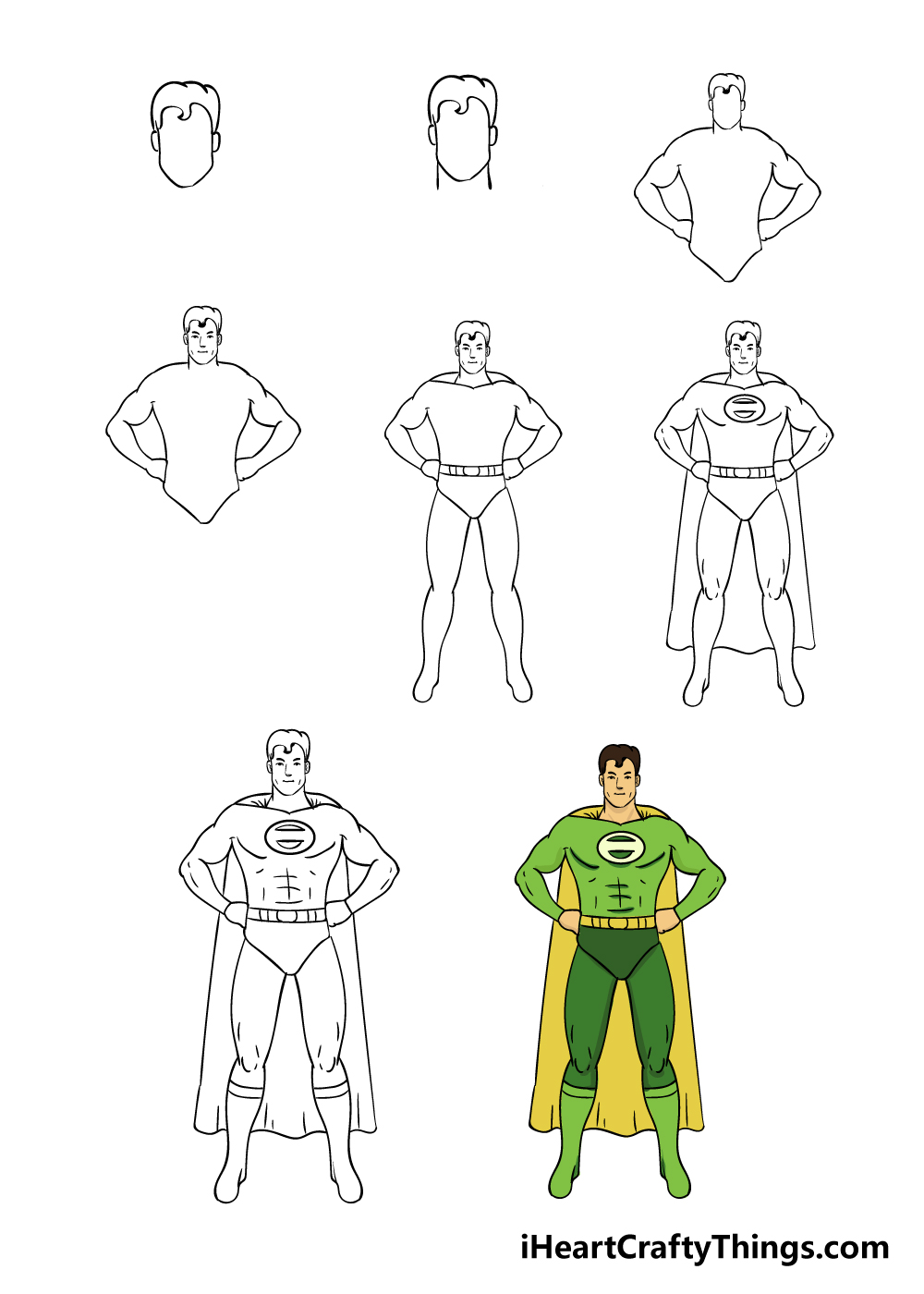 how to draw superhero in 8 steps