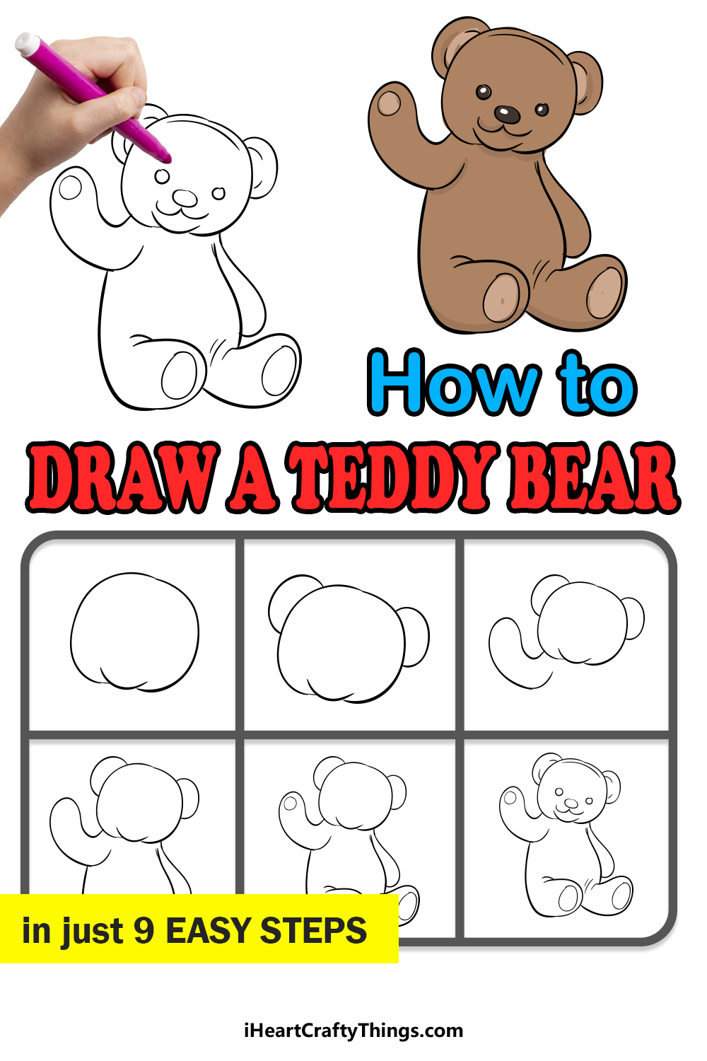 how to draw a teddy bear in 9 easy steps