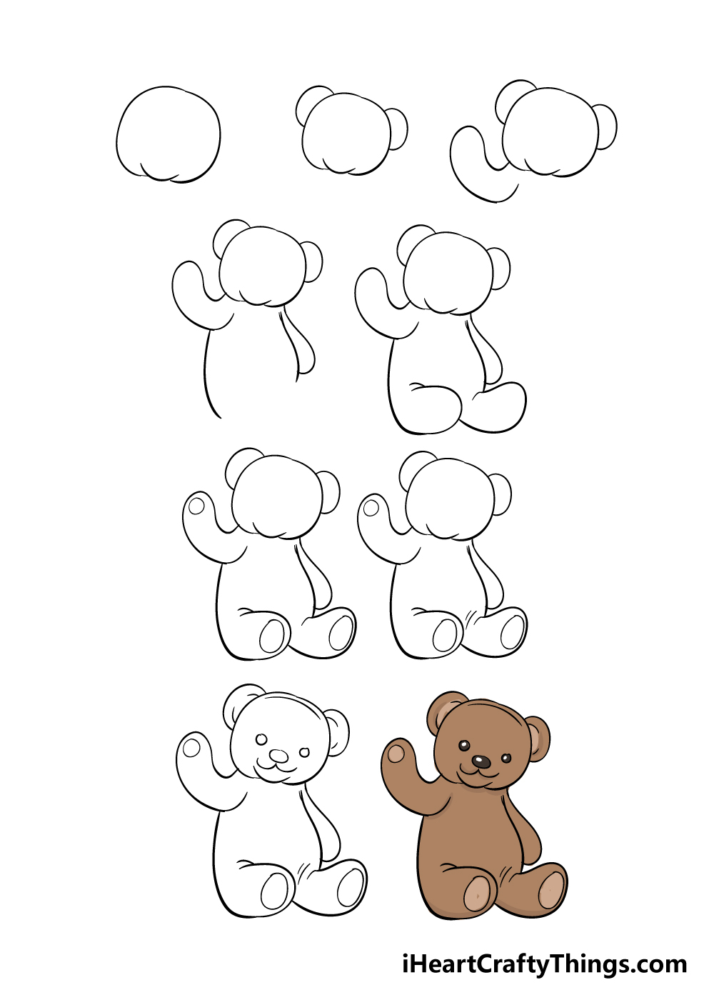 how to draw teddy bear in 9 steps