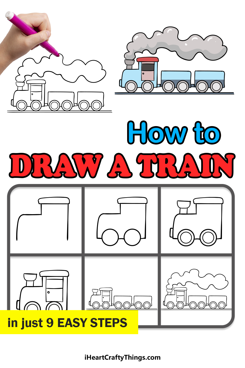 how to draw a train in 9 easy steps