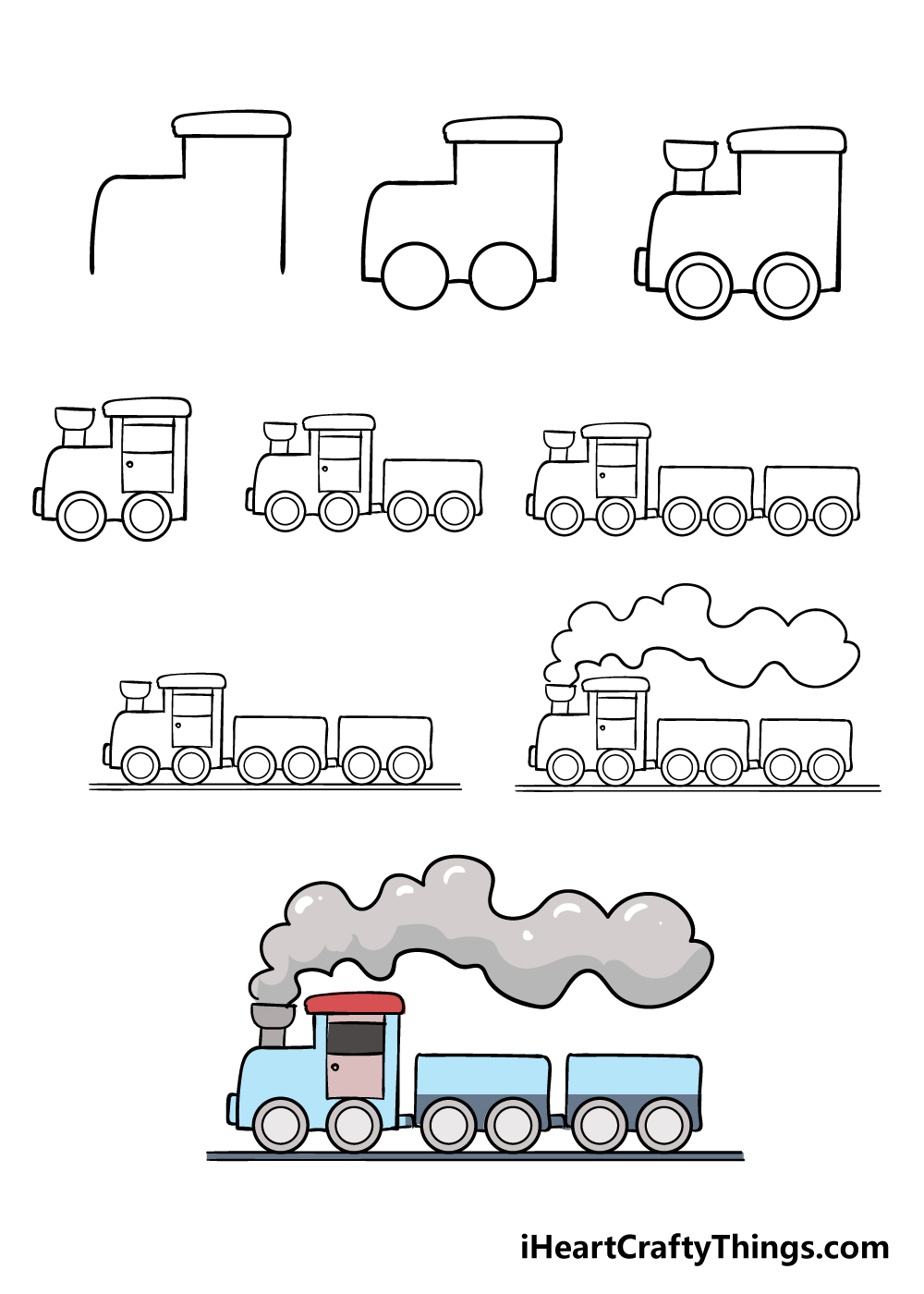 how to draw train in 9 steps