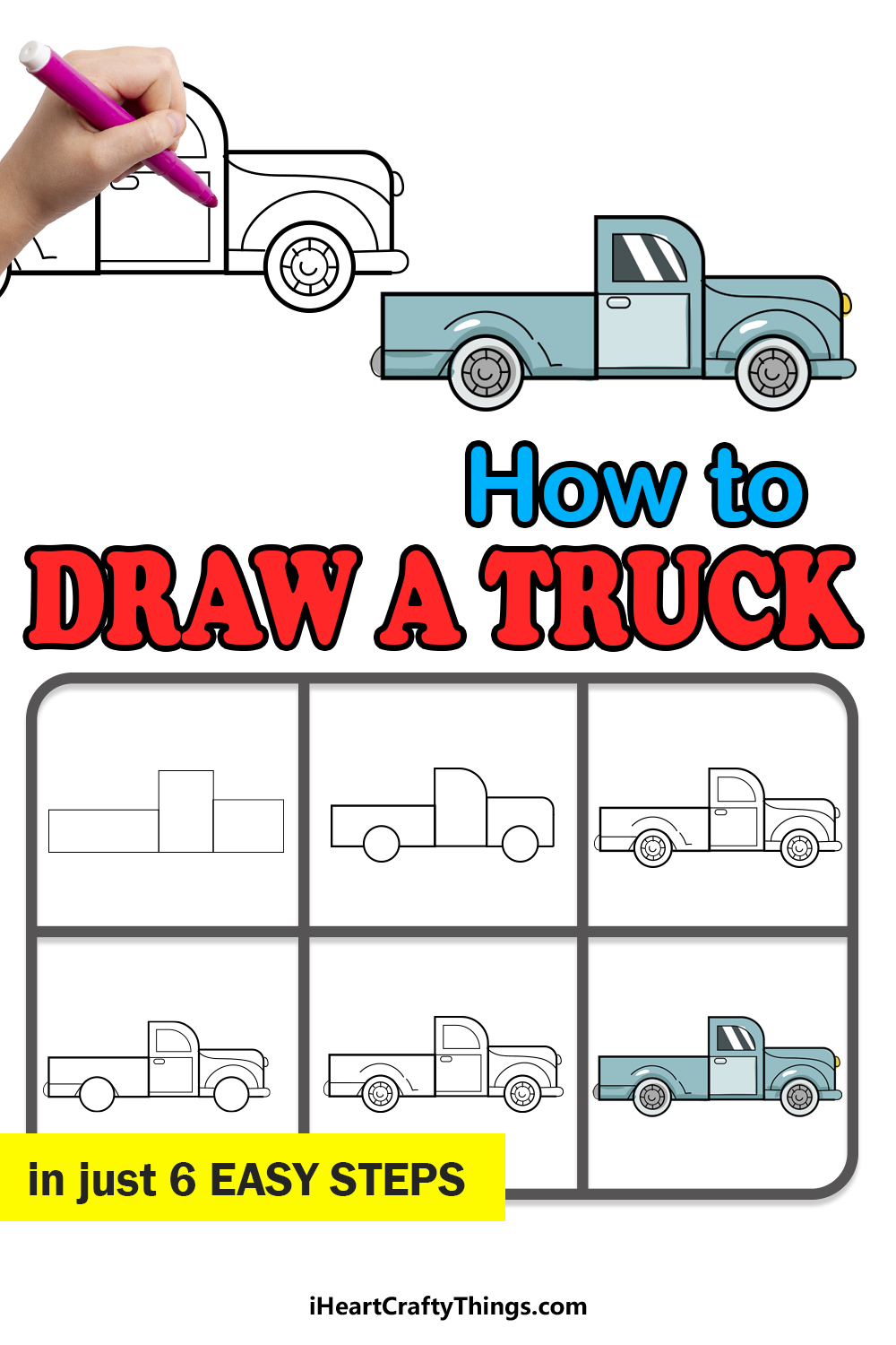 how to draw a truck in 6 easy steps
