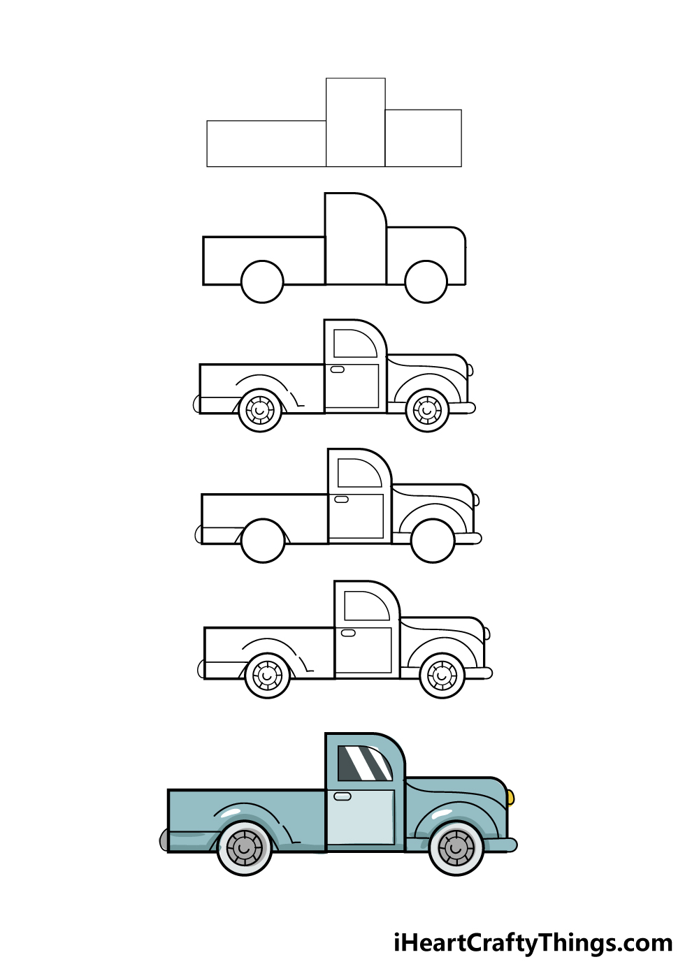 how to draw truck in 6 steps