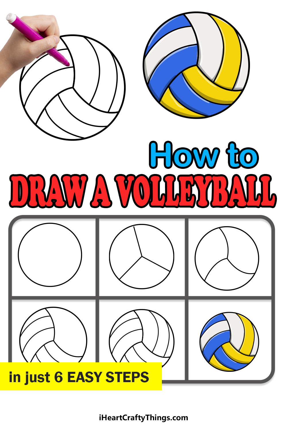 how to draw a volleyball in 6 easy steps