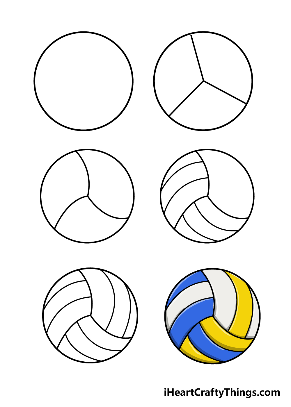 how to draw volleyball in 6 steps