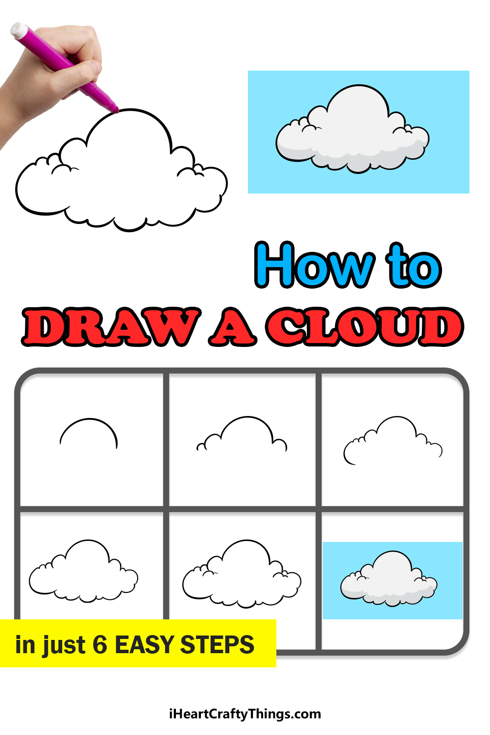 how to draw a cloud in 6 easy steps