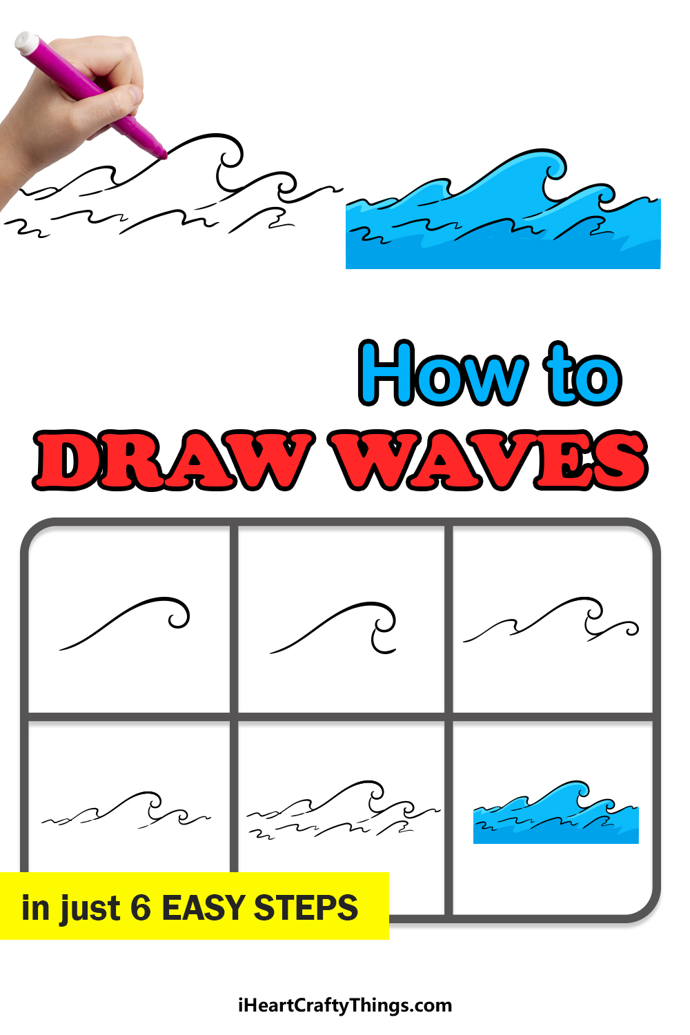 how to draw waves in 6 easy steps