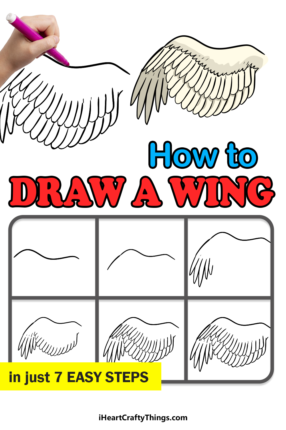 how to draw a wing in 7 easy steps