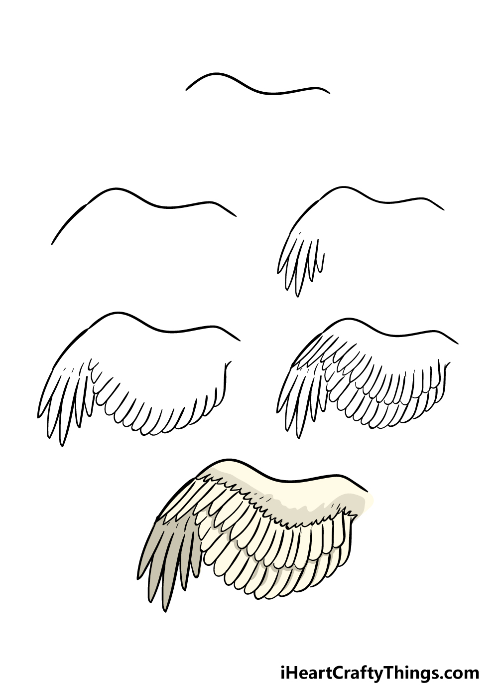 how to draw a wing in 7 steps