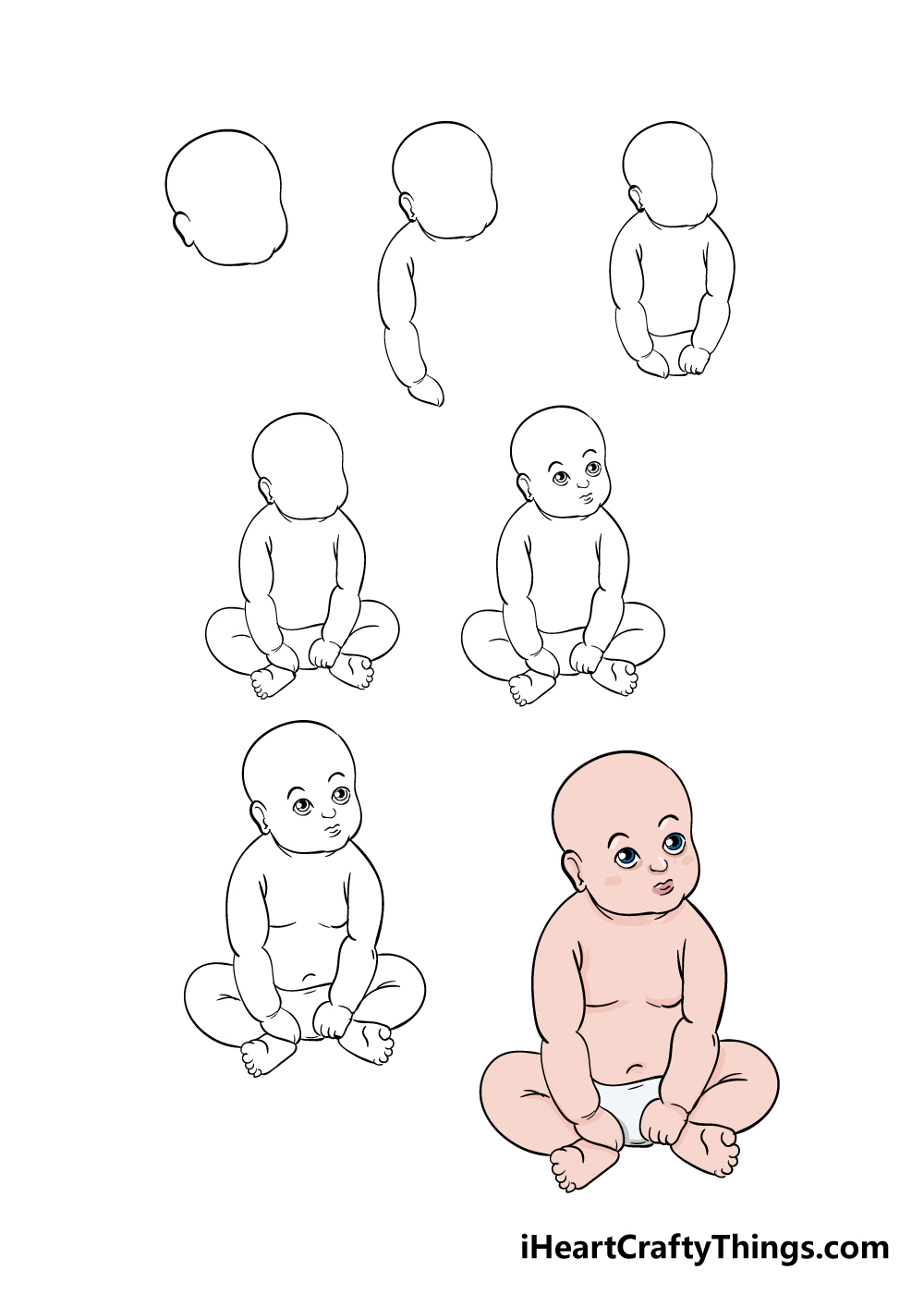 how to draw baby in 7 steps