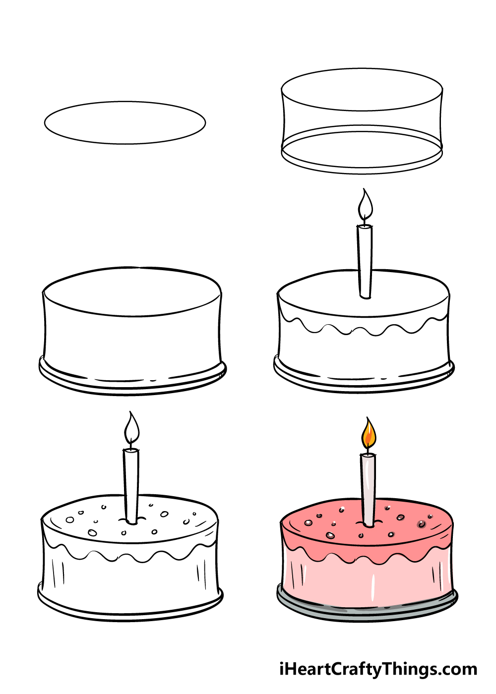 how to draw cake in 6 steps