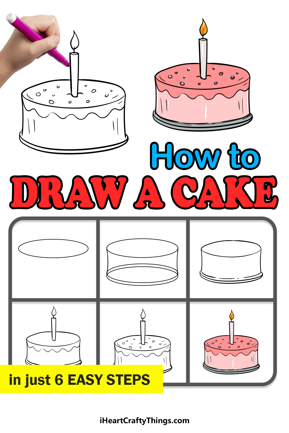 how to draw a cake in 6 easy steps